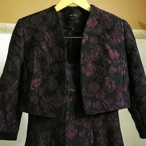 👑 Tahari Purple/Black Dress & Jacket